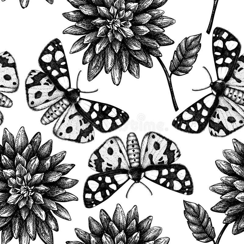 Modelo inconsútil con bosquejos exhaustos de las flores y de las mariposas de la mano Fondo del otoño del vector Ejemplo del vint libre illustration