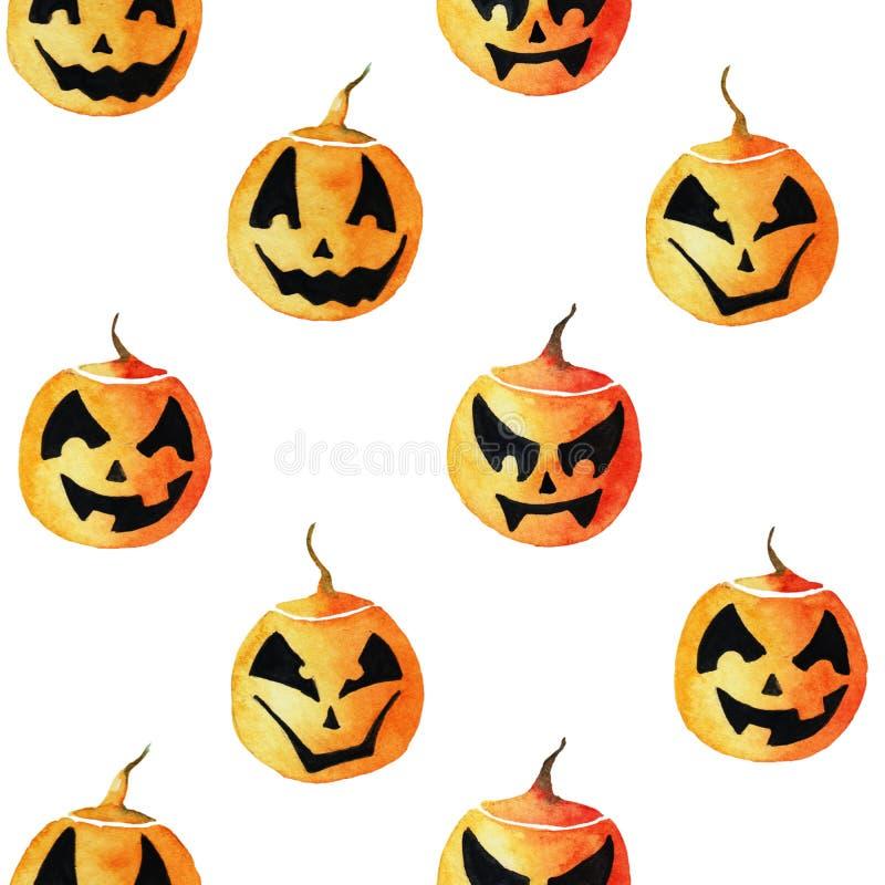 Modelo inconsútil con cuatro diversas linternas lindas de la calabaza de la acuarela para el diseño de Halloween ilustración del vector