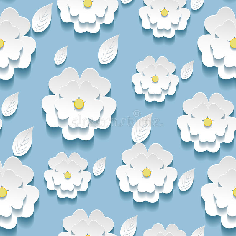 Modelo inconsútil con 3d el blanco Sakura fotos de archivo libres de regalías