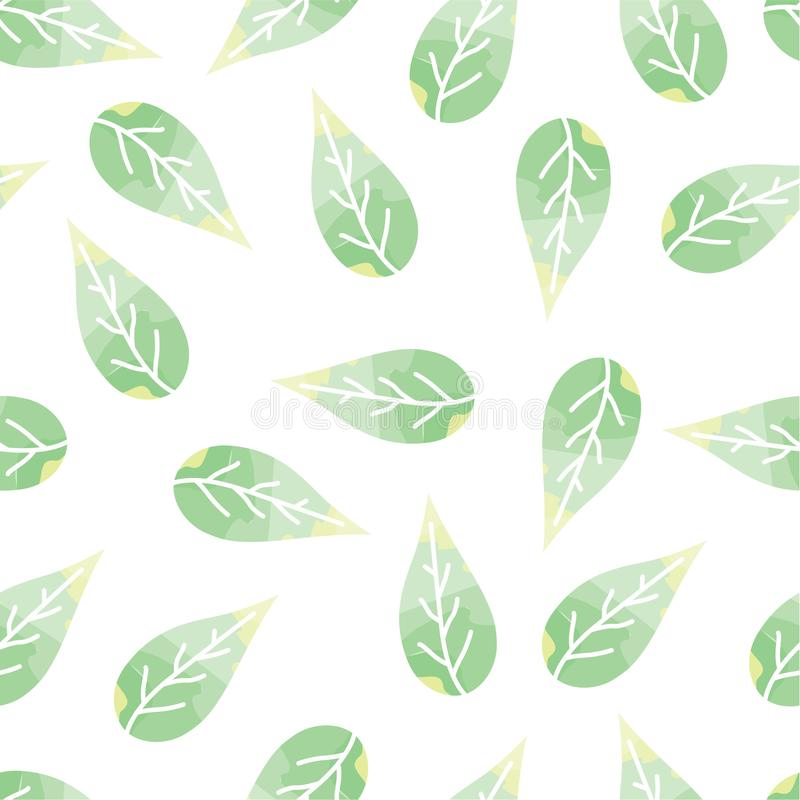 Modelo inconsútil con delicado, hojas del verde stock de ilustración