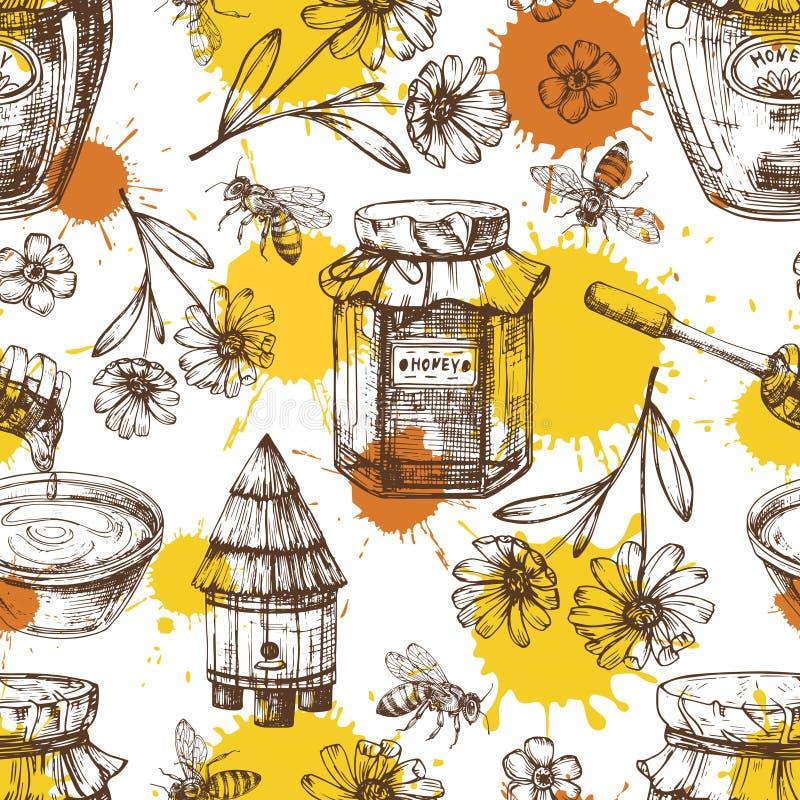 Modelo inconsútil con descensos, flores, tarros de la miel del vector de la miel ilustración del vector