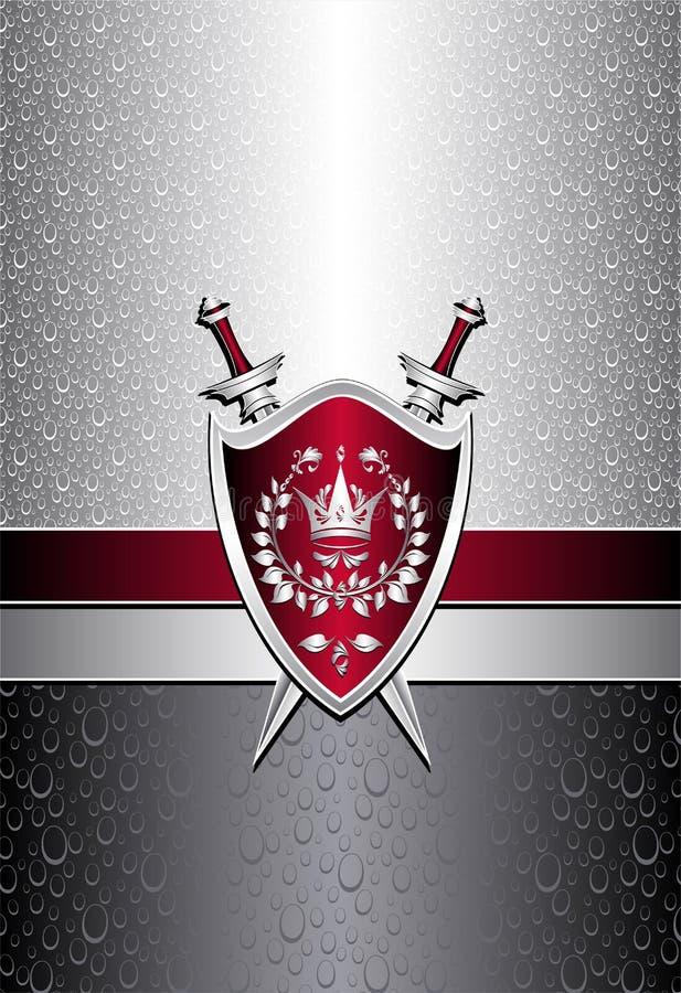 Modelo inconsútil con descensos o espadas del escudo en el si stock de ilustración