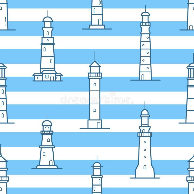 Modelo inconsútil con diversos faros dibujados con las líneas de contorno en fondo rayado Contexto con las torres para libre illustration