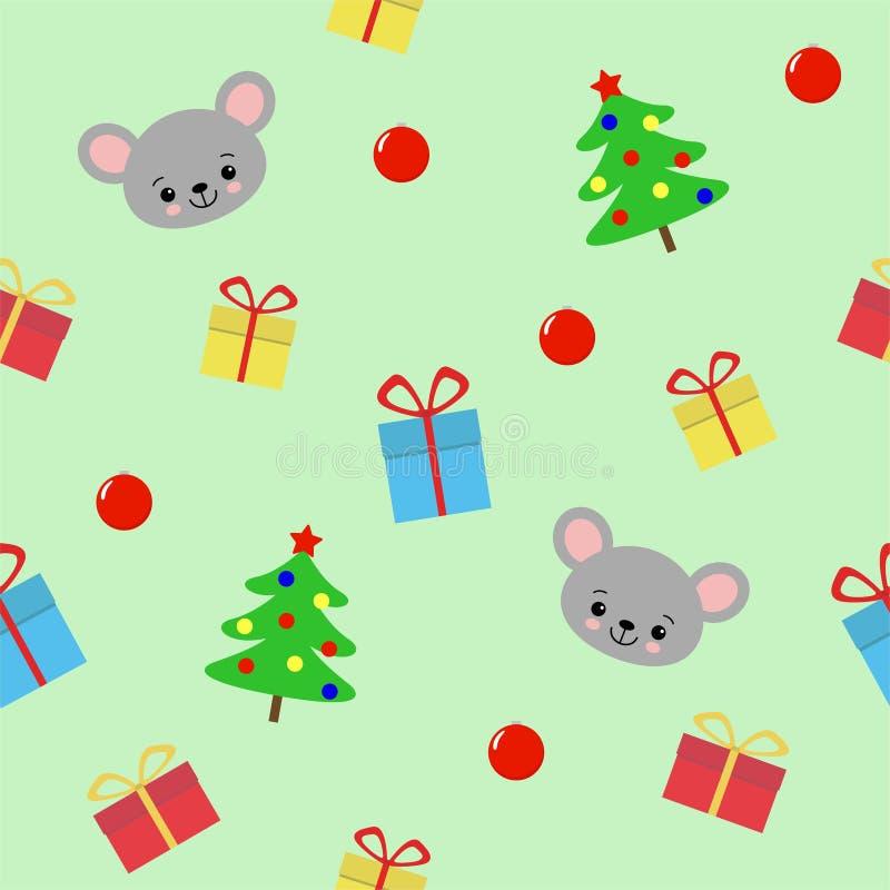 Modelo incons?til con el ?rbol de los hristmas, los regalos y el rat?n lindo en el fondo verde - ejemplo del vector, EPS ilustración del vector