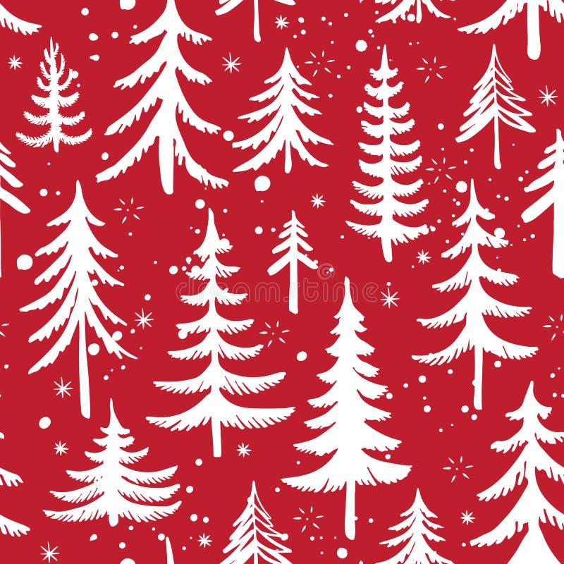 Modelo inconsútil con el árbol de navidad Fondo estilizado del vector del bosque del invierno stock de ilustración