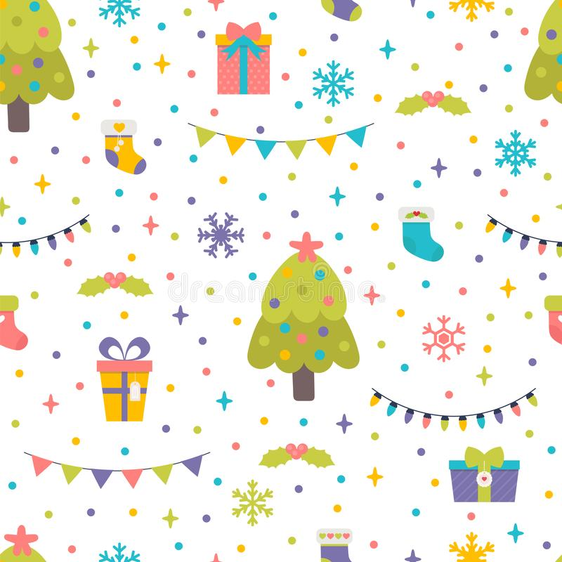 Modelo inconsútil con el árbol de navidad, los regalos y las guirnaldas Fondo lindo con los elementos coloridos del diseño Feliz  libre illustration