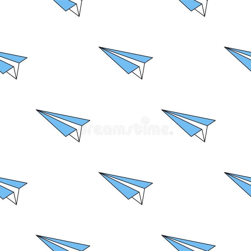 Modelo inconsútil con el avión azul de papel stock de ilustración