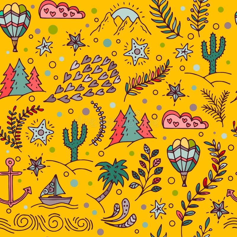 Modelo inconsútil con el cactus, palmeras, ancla de la nave ilustración del vector