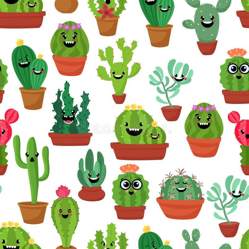 Modelo inconsútil con el cactus y los succulents lindos del kawaii con las caras divertidas en potes Fondo blanco Ilustración del stock de ilustración