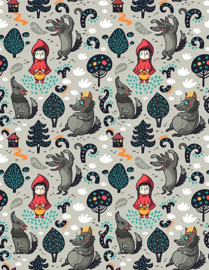 Modelo inconsútil con el Caperucita Rojo y el lobo hambriento gris en el fondo de la imaginación del cuento de hadas del bosque stock de ilustración