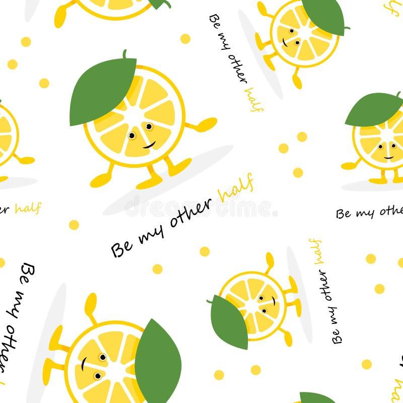 Modelo inconsútil con el carácter lindo de la sonrisa del limón ilustración del vector