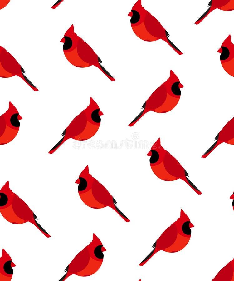 Modelo inconsútil con el cardenal rojo ilustración del vector