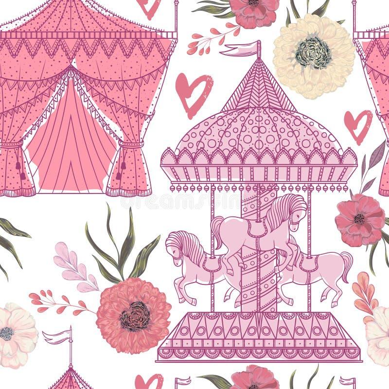 Modelo inconsútil con el carrusel, la tienda, los corazones y los elementos florales en el fondo blanco Tema del Funfair stock de ilustración