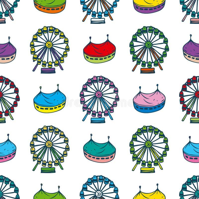 Modelo inconsútil con el circo y Ferris Wheel stock de ilustración