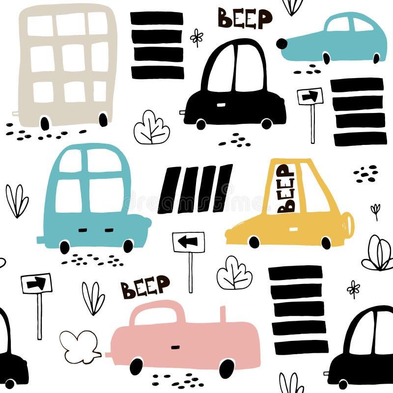 Modelo inconsútil con el coche lindo dibujado mano Coches de la historieta, señal de tráfico, ejemplo del paso de cebra Perfeccio ilustración del vector