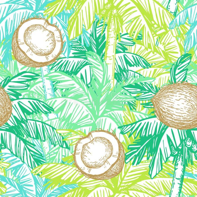 Modelo inconsútil con el coco y las palmeras ilustración del vector