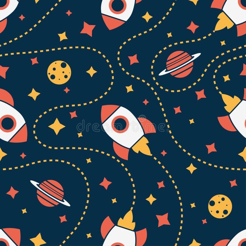 Modelo inconsútil con el cohete, Saturno, la luna y la estrella Fondo del espacio stock de ilustración