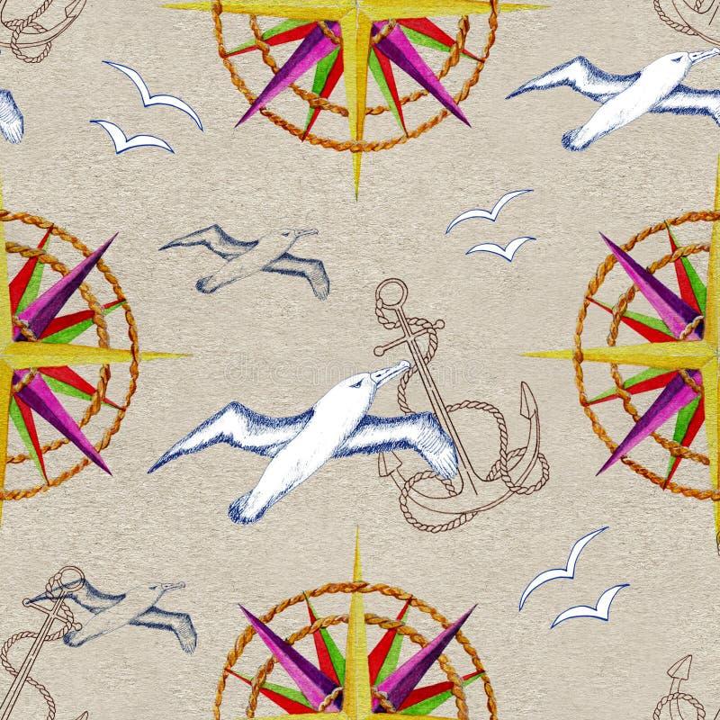 Modelo inconsútil con el compás y las gaviotas libre illustration