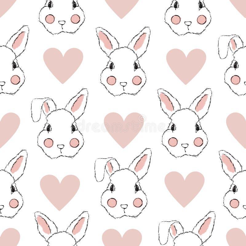 Modelo inconsútil con el conejo y los corazones libre illustration