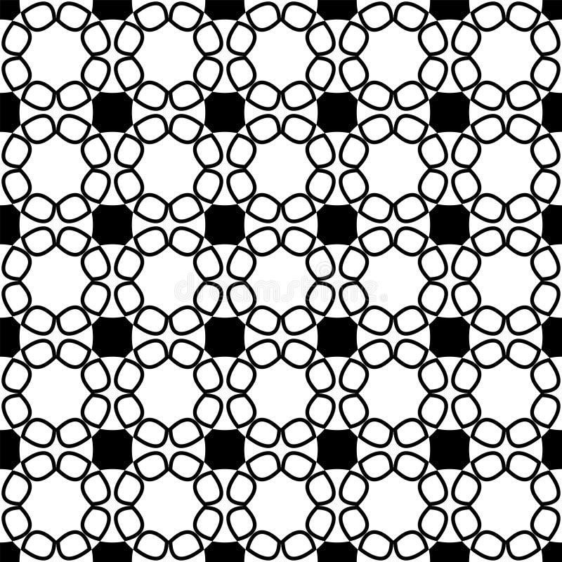 Modelo inconsútil con el cordón de flores abstractas negras en el fondo blanco ilustración del vector