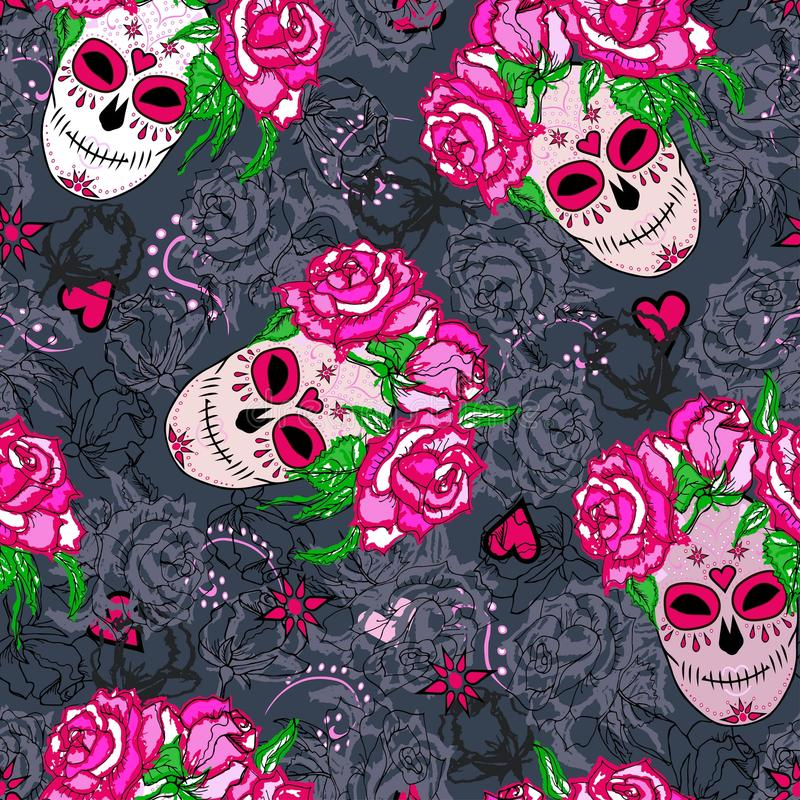 Modelo inconsútil con el cráneo del azúcar y las rosas rosadas fotos de archivo