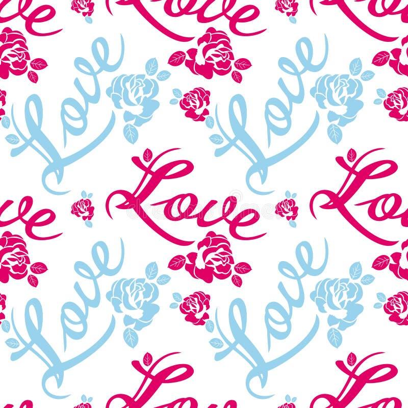Modelo inconsútil con el ` del amor del ` de la sola palabra y las siluetas de las rosas stock de ilustración