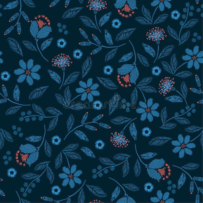 Modelo inconsútil con el diseño delicado hermoso del ejemplo de la impresión del vector de las flores salvajes para la moda, tela libre illustration