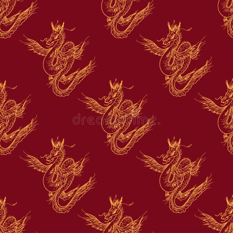 Modelo inconsútil con el dragón mágico de la mosca libre illustration