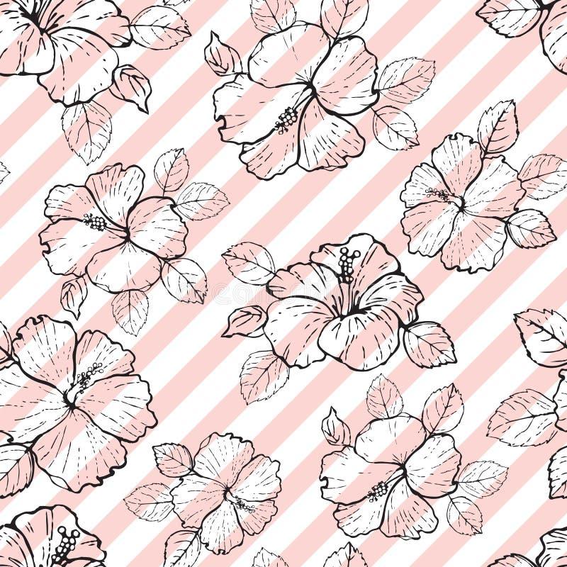 Modelo inconsútil con el ejemplo de la flor del hibisco ilustración del vector
