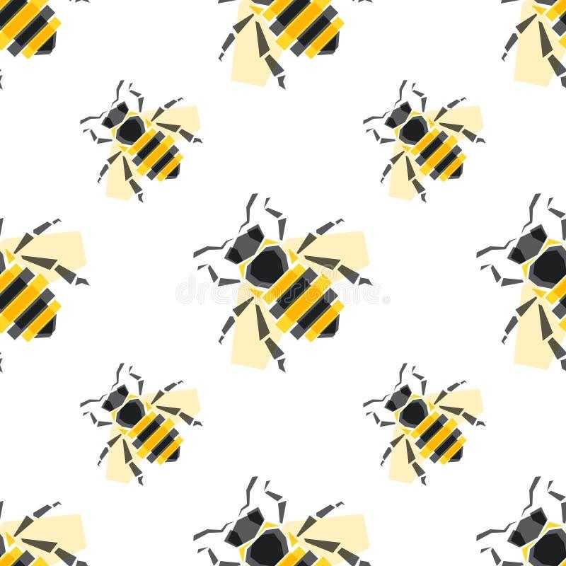 Modelo inconsútil con el ejemplo del vector de las abejas Para el empaquetado de bate, los cosméticos, comida, veneno de la abeja libre illustration