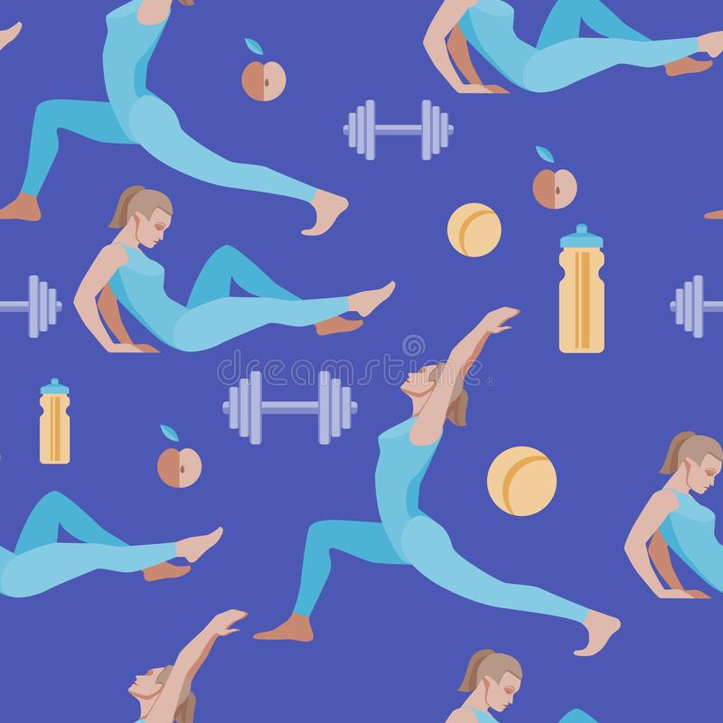 Modelo inconsútil con el ejemplo plano del vector Deportes de las mujeres, yoga y ejercicios físicos 6 imagen de archivo
