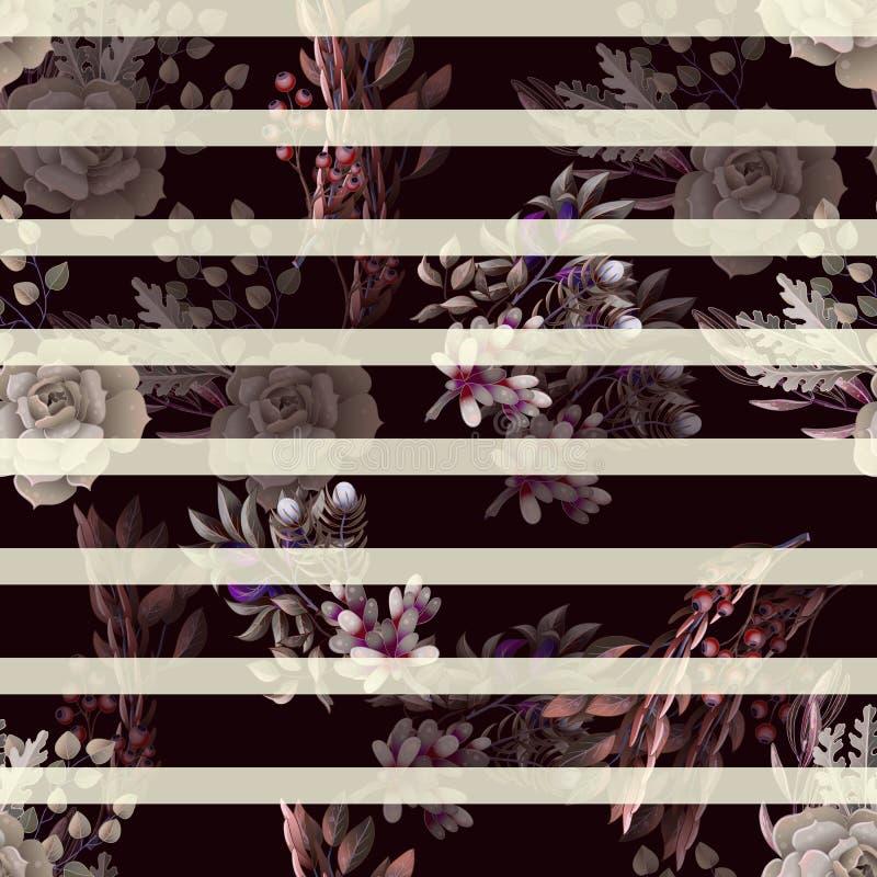 Modelo inconsútil con el eucalipto, la magnolia, las hojas del helecho y los ramos de los succulents Fondo rústico de moda del ve libre illustration