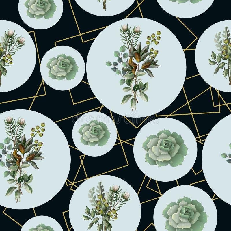 Modelo inconsútil con el eucalipto, las hojas de la magnolia, los succulents y los marcos de oro Fondo geométrico y botánico del  libre illustration