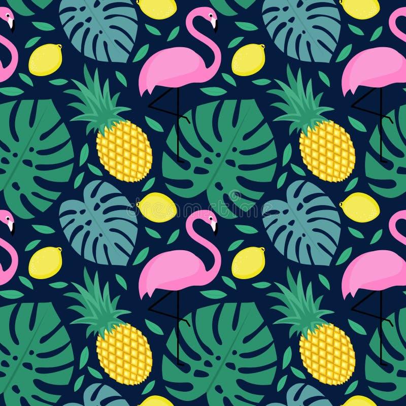 Modelo inconsútil con el flamenco, la piña, el limón y las hojas de palma verdes ilustración del vector