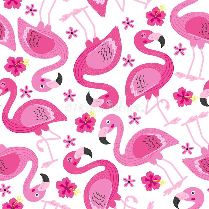 Modelo inconsútil con el flamenco rosado stock de ilustración
