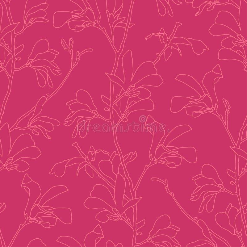 Modelo inconsútil con el flor del árbol de la magnolia Fondo floral rosado con la flor de la rama y de la magnolia Diseño de la p libre illustration