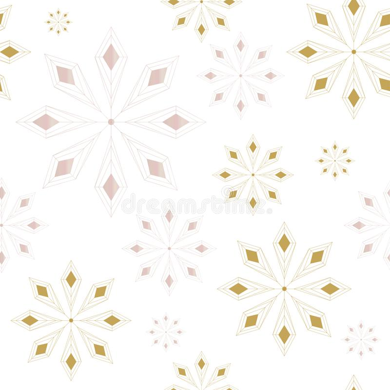 Modelo inconsútil con el fondo abstracto de los copos de nieve Copos de nieve grises y de oro Ilustración del vector ilustración del vector