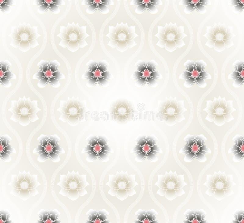 Modelo inconsútil con el fondo de las flores de loto ilustración del vector