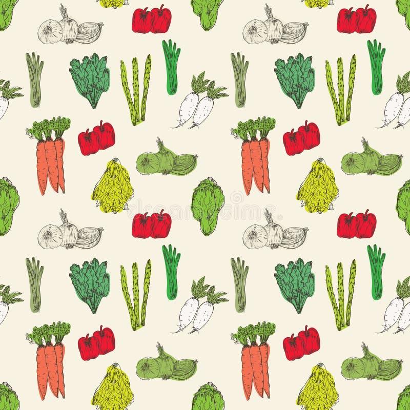 Modelo inconsútil con el fondo exhausto de las verduras de la mano Hierbas y especias orgánicas ilustración del vector