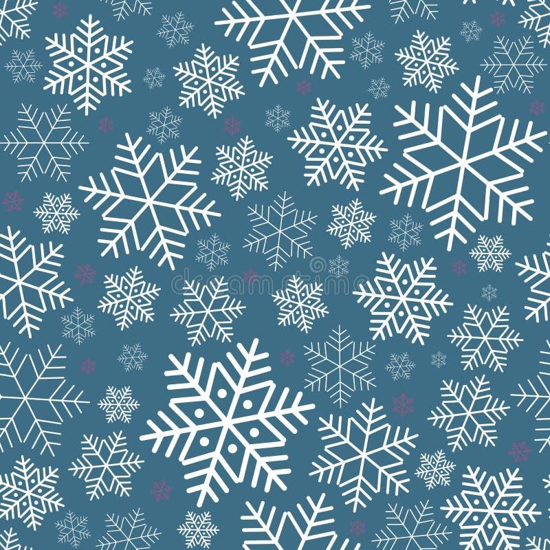 Modelo inconsútil con el fondo festivo del invierno de los copos de nieve en Año Nuevo y el modelo de la Navidad para las invitac libre illustration