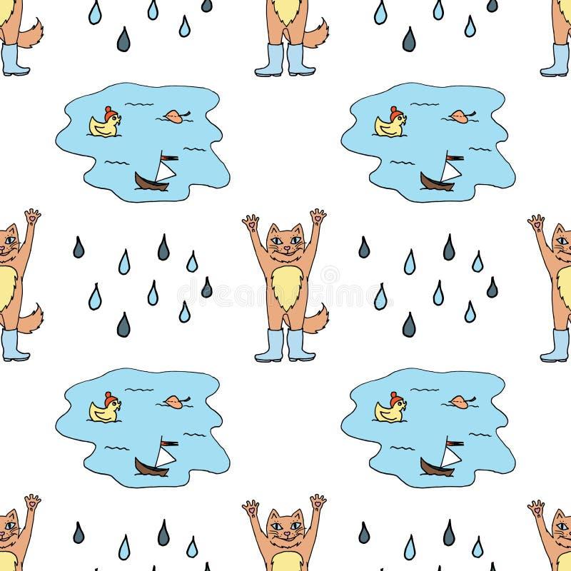 Modelo inconsútil con el gato rojo en las botas de goma, charco y gotas de lluvia Bosquejo colorido Ilustraci?n del vector stock de ilustración