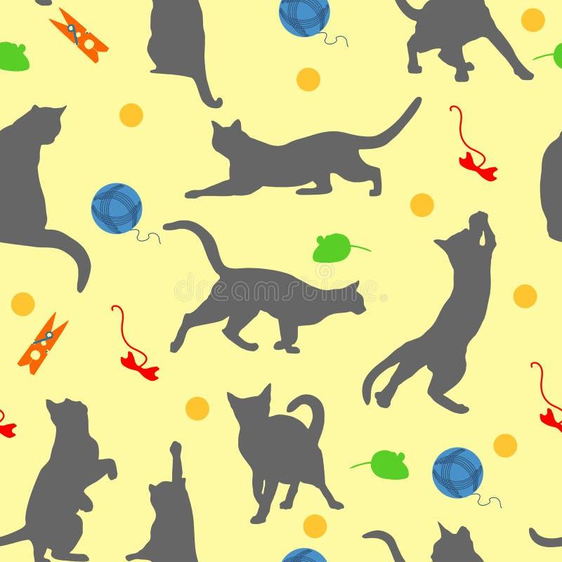 Modelo inconsútil con el jugador de los gatos Gatos y juguetes en estilo plano en fondo amarillo Ilustración del vector libre illustration