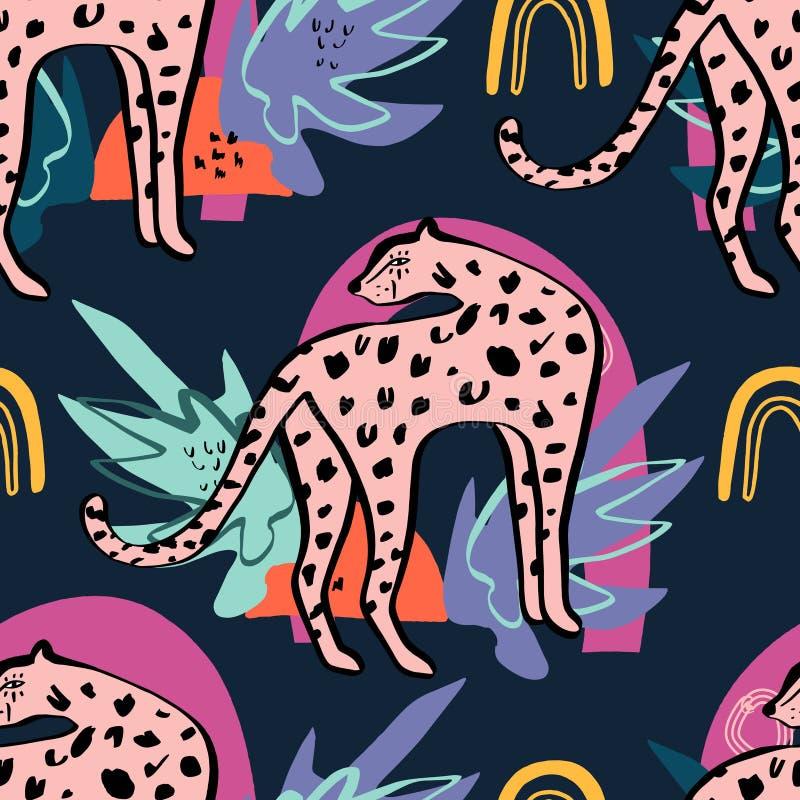 Modelo inconsútil con el leopardo lindo y las plantas tropicales Estilo infantil de la historieta, bueno para la tela y materia t stock de ilustración