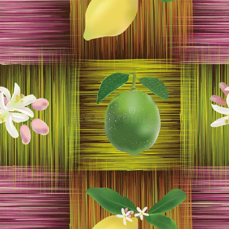 Modelo inconsútil con el limón, cal, flores libre illustration