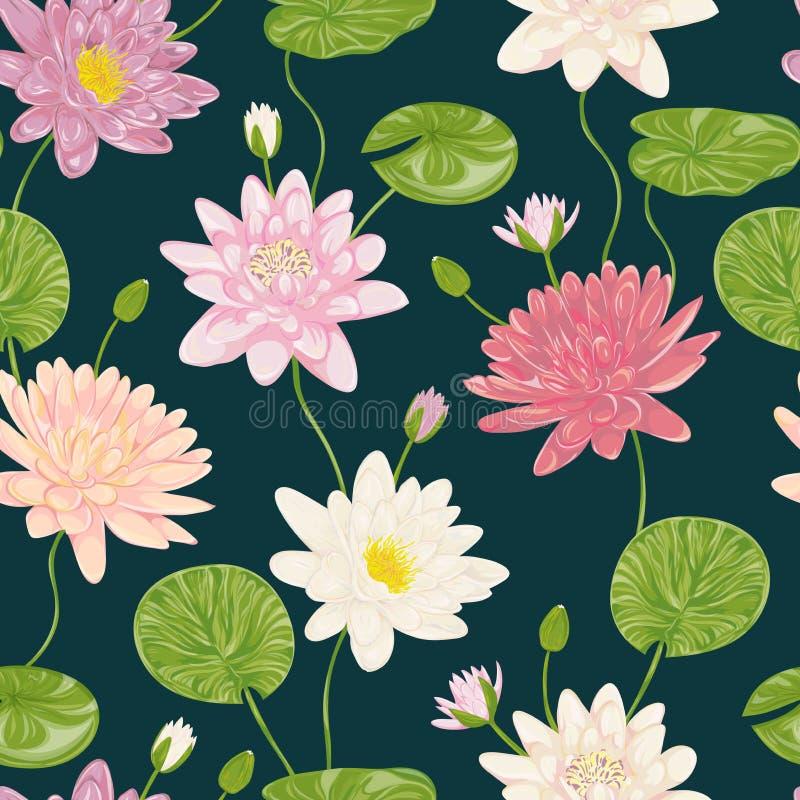 Modelo inconsútil con el lirio de agua Elementos decorativos del diseño floral de la colección stock de ilustración