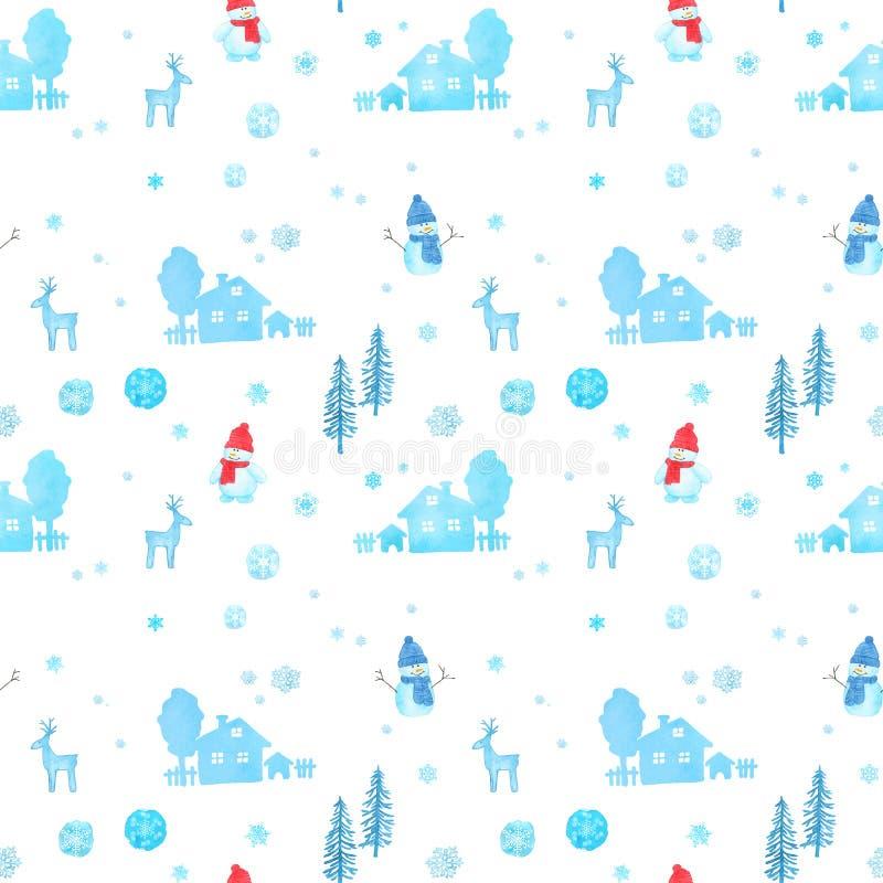 Modelo inconsútil con el muñeco de nieve de la Navidad de la acuarela, renos stock de ilustración
