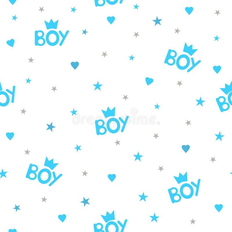 Modelo inconsútil con el muchacho, las coronas, los corazones y las estrellas de la palabra libre illustration
