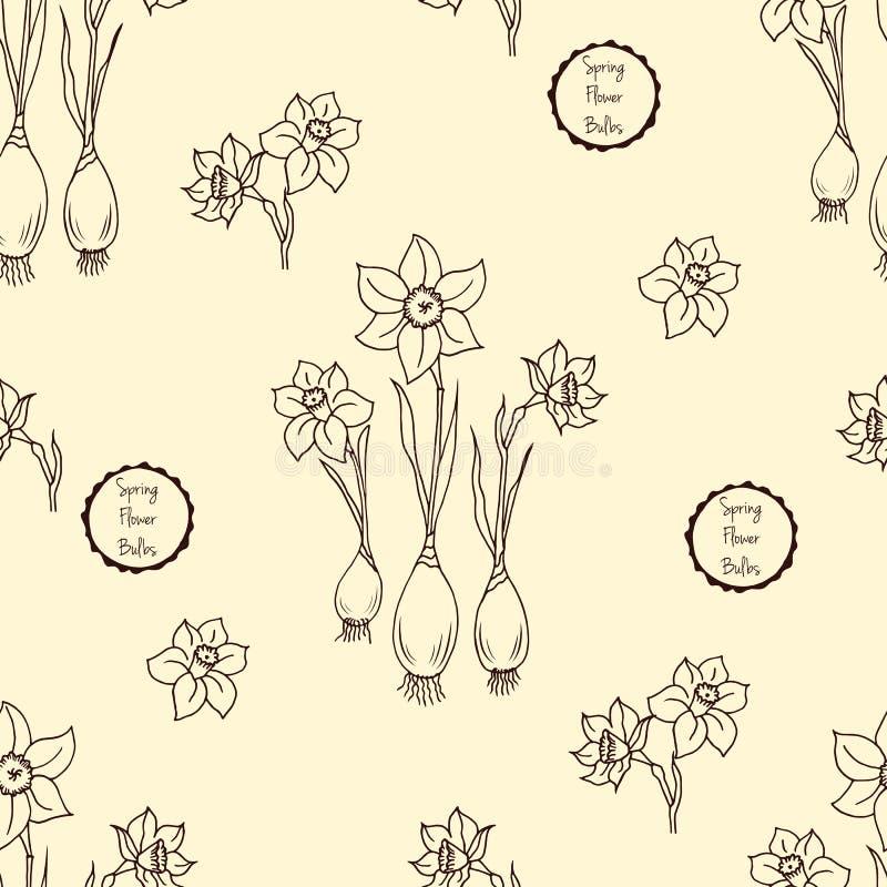 Modelo inconsútil con el narciso de las flores, ejemplo floral en estilo del vintage stock de ilustración