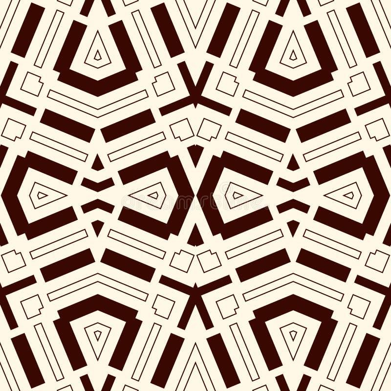 Modelo inconsútil con el ornamento geométrico simétrico Fondo abstracto rayado Adornos étnicos y tribales ilustración del vector