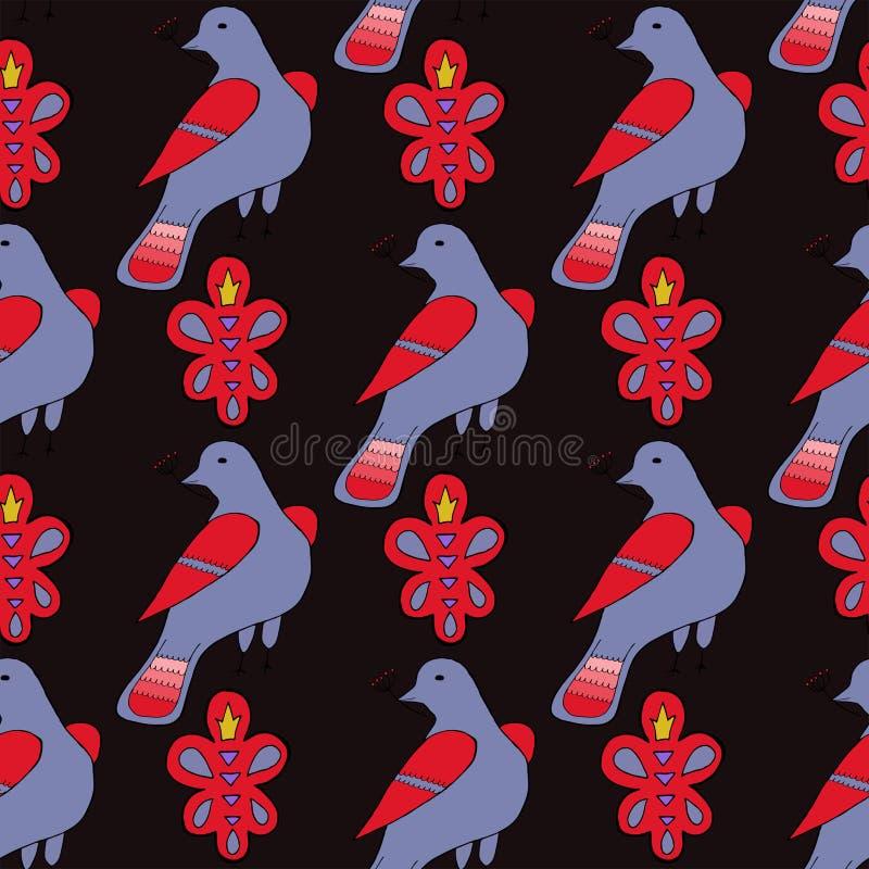 Modelo inconsútil con el ornamento y los pájaros dibujados mano stock de ilustración